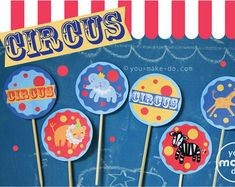 circus party cupcake toppers- Circus cupcake toppers can be used to decorate a circus party cake too! Our you make do cupcake topper printables can also be used as circus party gift bag favor tags. Carnival Party Invitations, Carnival Themed Party, 1st Birthday Party Themes, Carnival Birthday Parties, Circus Birthday, 1st Boy Birthday, Circus Baby, Turtle Birthday, Turtle Party
