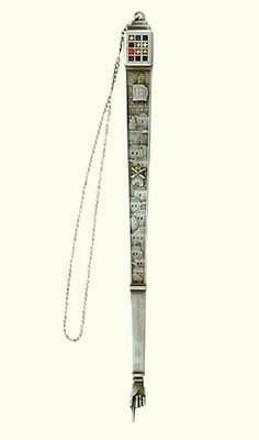 Art Judaica Elegant Nickel Plated Filigree Torah Pointer Yad with Colorful Hoshen
