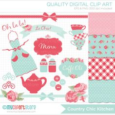 Clipart Combo  Shabby Chic Kitchen Tea Clip Art by MyClipArtStore