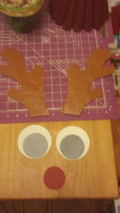 Rudolph cutout... cardboard antlers and card stock eyes and nose