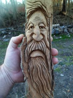 to my world of wood spirits and chainsaw carvings! Yes I carved them myself, and I will be posting many more on these pages. My name is Kevin and I'm a woodcarver from Northeast Pa. Simple Wood Carving, Wood Carving Faces, Dremel Wood Carving, Wood Carving Designs, Wood Carving Patterns, Wood Carving Art, Whittling Projects, Hand Carved Walking Sticks, Tree Faces