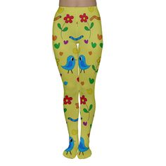 Yellow cute birds and flowers pattern Are black, blue and beige tights getting a bit too boring for you? Create your own pair with rainbow colors, crazy patterns and a mix of photos and art! Have fun with your designs and wear them with pride because they will truly be one of a kind!    Made from 90% Rayon, 10% Spandex Soft, stretchy, lightweight and quick drying fabric Full Length Standard Fit Fully customizable Hand wash in cold water only Designs imprinted using an advance heat…