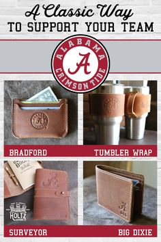 The new officially licensed Alabama University line of products, features your name or initials along side the Alabama University logo. It is handmade right here in Alabama, with the finest of Full Grain American leathers. It's a unique and timeless way to support your favorite team!