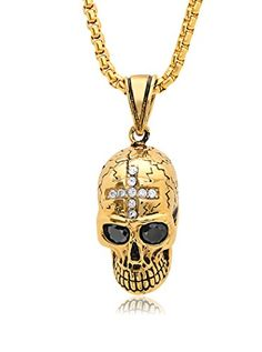 www.myhabit.com  Black faceted stone eyes and pave cross accents distinguish this detailed skull pendant displayed along a box chain