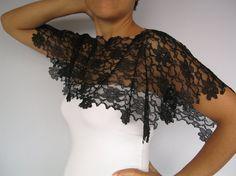Lace top capelet shrug black lace handmade unique by mammamiaeme, $33.00