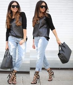 Lace Up Heels, Boyfriend Jeans, Leather Top, Sunglasses