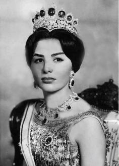 Farah Pahlavi, the former Queen and Empress of Iran, wearing her favorite tiara.