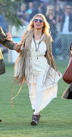 Fergie aka Stacey Ferguson and friends white dress beige vest with fringes Coachella