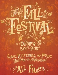 Fall Festival Poster Fall Festival Poster by Anthony Stamey; I like the storybook feel to itFall Festival Poster by Anthony Stamey; I like the storybook feel to it Fall Festival Games, Festival Flyer, Halloween Festival, Festival Posters, Fall Halloween, Fall Festivals, Fall Carnival, School Carnival, Harvest Party