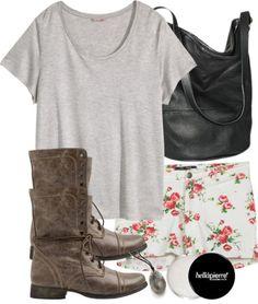 H M women plus size top, $12 / Steve Madden lace up booties, $80 / Merona black leather handbag / Pendants necklace / Lip treatment, $15 / Floral Print Soft Knit Shorts