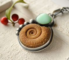 Ammonite and chrysoprase pendant with oxidized sterling