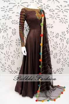 PalkhiFashion Exclusive Full Flair Dark Brown Colored Satin Silk Outfit with Pencil Pant full hands Indian Gowns, Pakistani Dresses, Indian Wear, Indian Attire, Indian Designer Outfits, Indian Outfits, Designer Dresses, Designer Kurtis, Indian Clothes