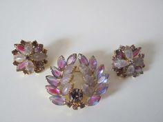 Vintage Purple Lavender Bi Color Brooch & Earrings