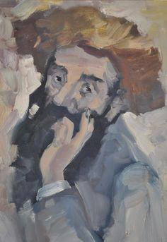 Original Oil Painting of an Arab Man by Israeli Artist Moshe M. Impressionist c. 1960s