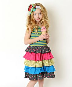 Look at this #zulilyfind! Green & Pink Color Block Tiered Dress - Toddler & Girls by Oopsie Daisy #zulilyfinds
