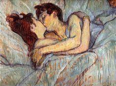 « C'est supérieur à tout. Rien ne peut rivaliser avec quelque chose d'aussi simple. Il n'y a pas mieux, ça c'est du désir ».  Toulouse-Lautrec  En 1892, Toulouse-Lautrec peint « Au lit, le baiser ». A cette époque, le peintre passe son temps dans les maisons closes. Il se passionne pour la vie intime des prostituées, ces femmes qui nouent entre elles des liens affectifs.  Ce baiser fait partie d'une série de quatre tableaux traitant de ces relations féminines.  « Dans le lit », autre œuvre…