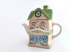 Vintage Ceramic Tea Pot  House miniature  by madlyvintage on Etsy