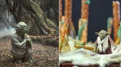 This fun food diorama re-creates Yoda's remote world of swamps, mud and mist from the Dagobah System, using brownies and cotton candy!