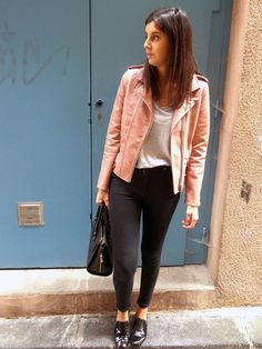 Mon look d'automne avec mon perfecto rose    My fall outfit with my pink perfecto on frenchyjuh.fr