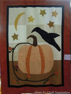 """The Grand Pumpkin, ~62 x 76"""",  by Jane Wilson (Diablo Valley Quilters).  The Great Pumpkin pattern is by Jenifer Gaston at Woolen Willow Designs.  Photo by Quilt Inspiration."""