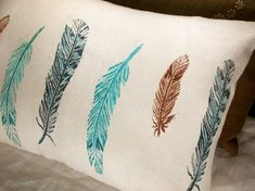 wild bird feathers hand block printed decorative lumbar pillow case 12x16 on Etsy, $42.00
