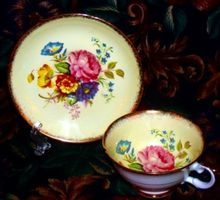 Tea Cup & Saucer, Yellow with Multi Floral, Royal Grafton