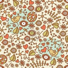 Seamless pattern with romantic birds in crown, hearts and flora. Vector doodle illustration. Stock Photo - 11747450