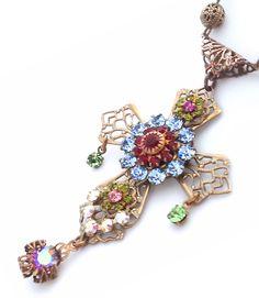 Rosary cross necklace, Swarovski  and brass cross necklace