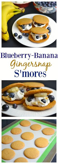 These Blueberry Banana Gingersnap S'mores are a fun take on the traditional s'mores. Lots of bright flavors with a gingery twist. Great Recipes, Favorite Recipes, Unique Recipes, Holiday Recipes, Ginger Snaps Recipe, Delicious Desserts, Yummy Food, Joy Of Cooking, Stick Of Butter