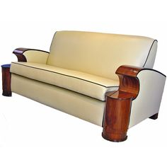 Art Deco Sofa / South Africa / c. 1930's / walnut veneered arm rests. @designerwallace