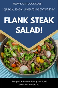 Easy, healthy, and delicious recipe. This salad has the best Mexican flavors that makes it so satisfying! Salad Bowls, Soup And Salad, Flank Steak Salad, How To Dry Oregano, Kitchen Hacks, Dinner Tonight, Delish, Side Dishes, Recipies