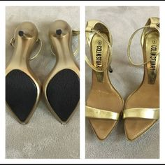 Gold Colin Stuart heels Gold COLIN STUART pointed toe heels with ankle straps • size 8 in women's• run small to size because of width at the toe. Perfect for a narrow size 8 or regular 7-7 1/2.  Retails for over $90.00 Will accept $40.00 Colin Stuart Shoes Heels