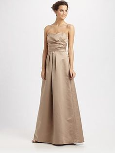 ABS Belted Strapless Ruched Dress/Nude...so elegant...simple.