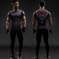 Marvel Superhero Compression T-shirts Short Long Sleeve Gym Sport Men Clothing