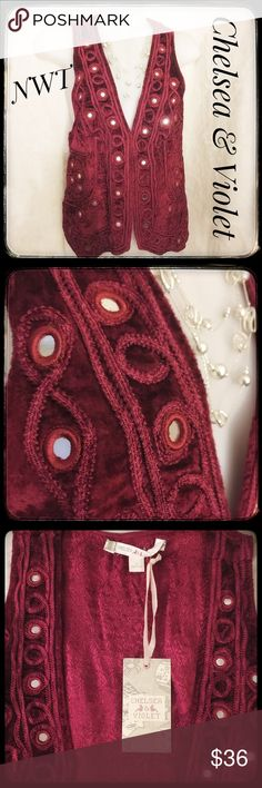 NWT Sassy Deep Wine Mirror Embellished Vest Oh, this is so beautiful! The material is almost a velour type material, accented with mirror like bevel set Sass. The entire design is beautiful, with a slight sophisticated Boho appeal. The back has the same beautiful details. Internal lining is a gorgeous soft sheen design, gorgeous as well. This item is NWT in new condition. Gorgeous and what a deal for this fun fashion piece! Chelsea & Violet Jackets & Coats Vests