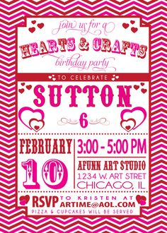 VALENTINES PARTY INVITATION hearts and crafts