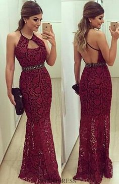 2017 Custom Made Charming Burgundy Prom Dress, Lace