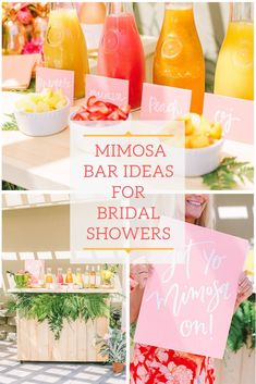Find decor inspiration and ideas for your bridal shower planning from this elegant tropical bridal party! It combines two of our favorite things—mimosas and brunch! If these trends are your favorite too, you're in for a real treat today! Blush Bridal Showers, Simple Bridal Shower, Tropical Bridal Showers, Bridal Shower Flowers, Bridal Shower Rustic, Bridal Shower Decorations, Bridal Shower Pink, Bridal Shower Treats, Table Decorations