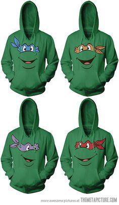 Ninja Turtle hoodies… the fact that I don't own these means I have failed at life. @Cayla Snooke @Alysyn @Chris Burgers