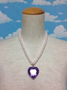 Jewel Heart Pearl Necklace in Lavender from DokiDoki - Lolita Desu Pearl Necklace, Lavender, Jewels, Heart, Fashion, String Of Pearls, Moda, Beaded Necklace, Bijoux