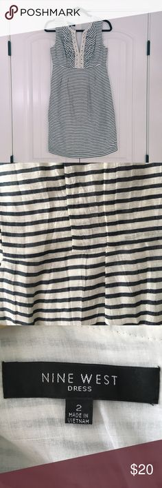 Nine West Stripped Dress Nine West | Gray and white stripes | Perfect condition | Perfect summer dress | Can be dressed up or dressed down Nine West Dresses