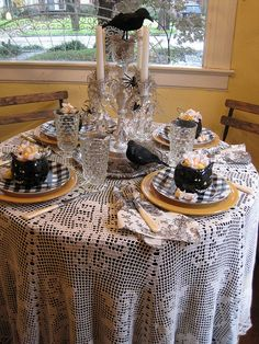 Black Cat Tablescape by Andrea at Opulent Cottage, via Flickr
