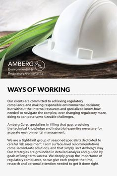 Amberg's seasoned team of specialists, our commitment and strategies to help your company follow regulatory compliance and make responsible environmental decisions.