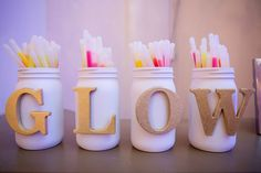 Glow sticks for wedding reception . decorate containers with sliver glitter and have a cute sign that saying let love glow in a gold frame with a red satin bow glued to it Wedding Send Off, Fall Wedding, Diy Wedding, Dream Wedding, Wedding Stuff, Wedding Ideas, Trendy Wedding, Rustic Wedding, Wedding Photos