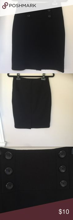 Pencil skirt Black straight high waisted skirt, with decorative bottoms on the front, small slit in the back. Great for work or night out. Iz Byer Skirts Pencil
