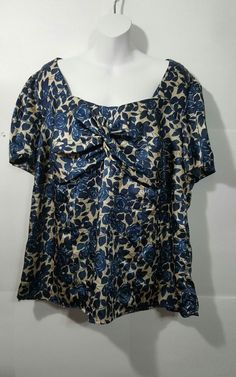 222b1d47ab6 Lane Bryant Plus size 18 20 blouse blue gold rose floral Twisted bodice  lined  LaneBryant