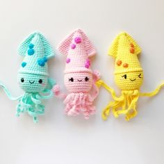 Squidgee amigurumi pattern by Sundot Attack Crochet Fish, Crochet Octopus, Crochet Animals, Crochet Toys, Amigurumi Patterns, Crochet Patterns, Pattern Sewing, Kawaii Crochet, Fishing Gifts
