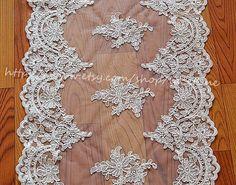 Ivory Alencon Lace Fabric Trim Wedding Veil Bridal by lacetime, $18.60