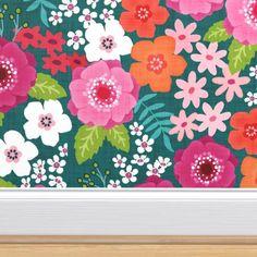 Floral Print Wallpaper, Custom Wallpaper, Floral Prints, Perfect Wallpaper, Wallpaper Roll, Wallpaper Ideas, Blue Peonies, Blue Flowers, Elephant Wallpaper