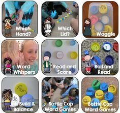 Bottle Cap Center Games for Any Word List Bundled